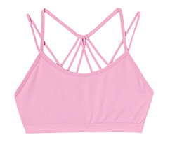Pink strappy light impact bra.
