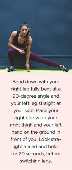 Running warm-up: bend down at a 90-degree angle