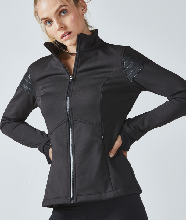 A black, high-performance jacket.