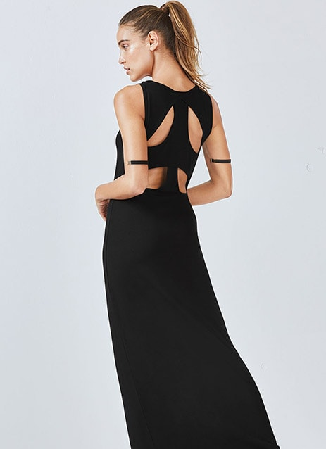 Woman wearing a black maxi dress