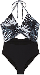 A black monokini with a tropical print