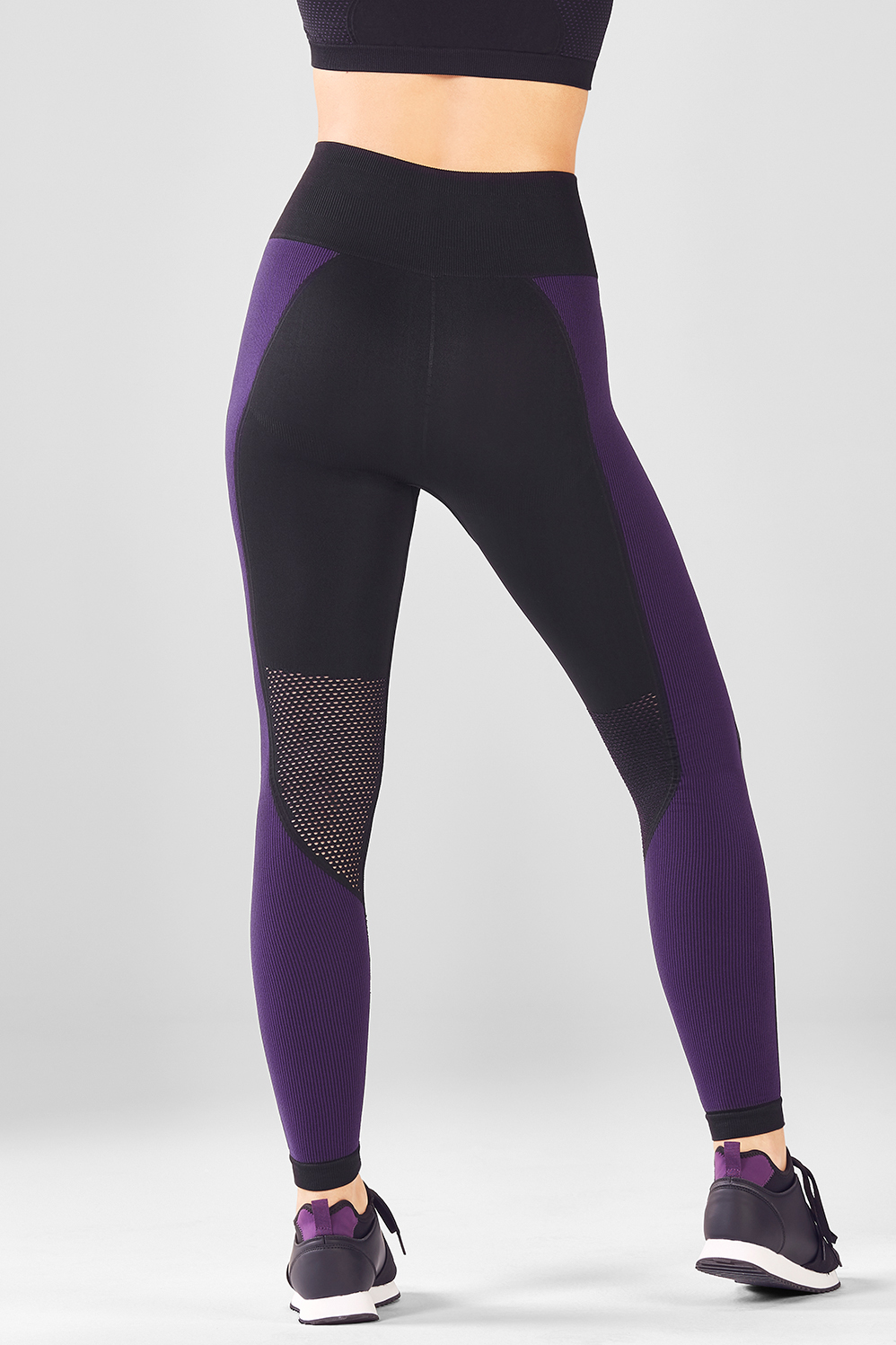 a3a66b41bdda3 Seamless High-Waisted Statement Legging - Black/Eggplant