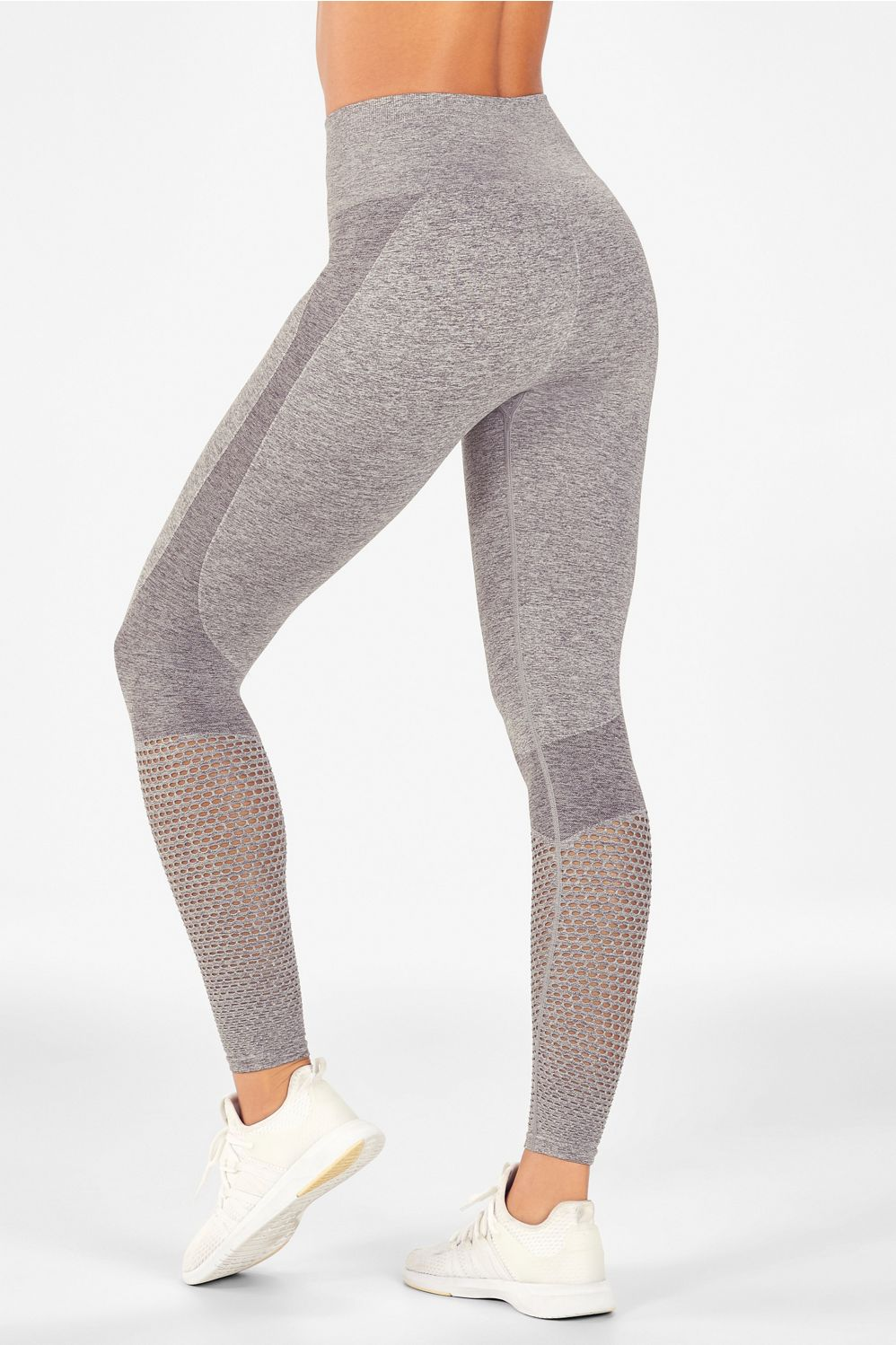 cc7b5f3a7d4aa Seamless High-Waisted Mesh Legging - Grey Heather