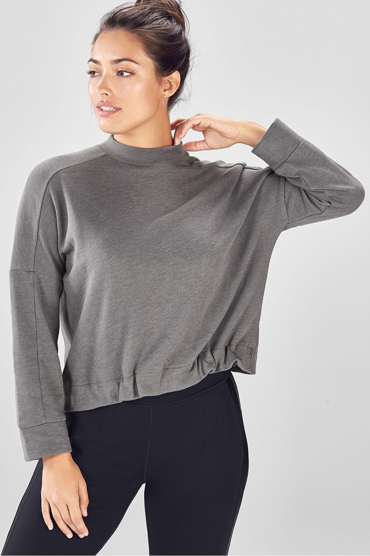 65b34de25f Selena Terry High-Low Pullover - grey heather