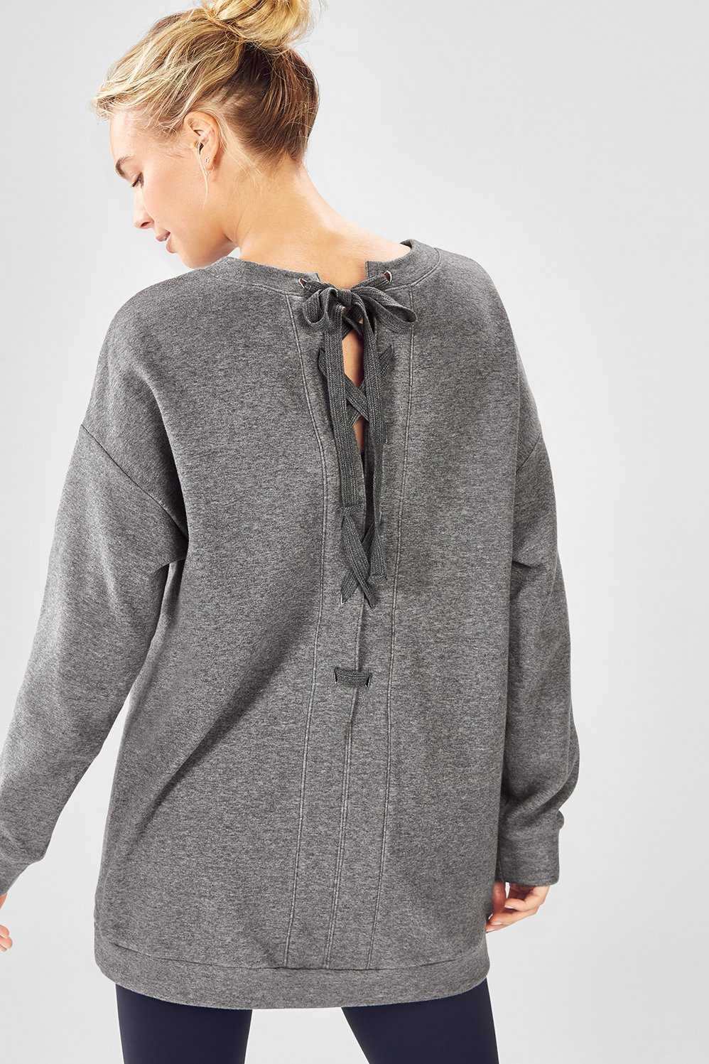 54d487d447 Nina Lace-Back Pullover - Grey Heather