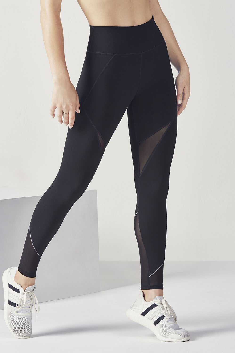 69ab9532385c08 High-Waisted Mesh PowerHold® Leggings - Black/Silver